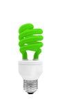 Lampadina verde della luce fluorescente con il percorso di ritaglio Fotografia Stock