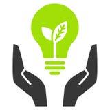 Lampadina verde di ecologia in mani aperte Immagine Stock