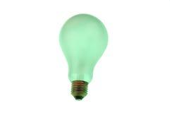 Lampadina verde isolata sopra una priorità bassa bianca Fotografia Stock Libera da Diritti