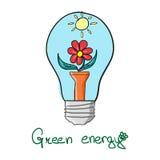 Lampadina verde stilizzata di energia Fotografia Stock Libera da Diritti