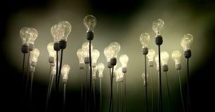 Lampadine che tendono verso il cielo con l'incandescenza sinistra Fotografia Stock Libera da Diritti