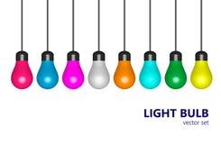 Lampadine colorate, insieme illustrazione vettoriale