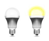 Lampadine del LED in funzione e a riposo isolate su bianco Royalty Illustrazione gratis