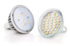 Lampadine del LED isolate su bianco Immagini Stock