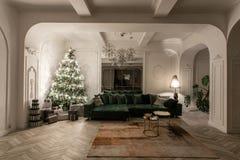 Lampadine della ghirlanda Sera di natale appartamenti lussuosi classici con l'albero di Natale decorato Corridoio vivente grande fotografia stock
