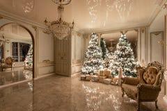 Lampadine della ghirlanda Sera di natale appartamenti lussuosi classici con l'albero di Natale decorato Corridoio vivente grande fotografie stock