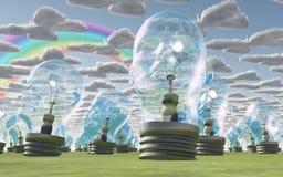 Lampadine della testa umana sotto il cielo felice Immagini Stock Libere da Diritti