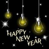 Lampadine di anno felice Fotografia Stock