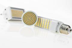 Lampadine di E27, di GU10 e di R7s LED con i vari chip Immagini Stock Libere da Diritti