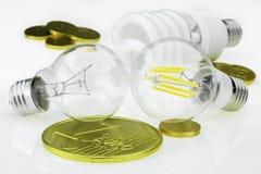 Lampadine di Eco E27 LED, tungsteno classico e La fluorescente compatta Fotografie Stock