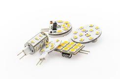 Lampadine di G4 LED di vari forme, potere e luminosità Fotografia Stock