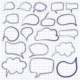 Lampadine disegnate a mano del testo Vettore Insieme dei telai, blu sulla carta del taccuino illustrazione vettoriale