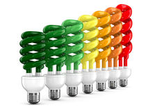 Lampadine economizzarici d'energia su priorità bassa bianca Immagine Stock