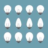 Lampadine ed insieme dell'icona della lampadina  Fotografie Stock Libere da Diritti