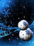 Lampadine ed ornamenti blu scintillanti di festa Immagini Stock Libere da Diritti
