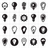 Lampadine. Insieme dell'icona della lampadina Immagine Stock