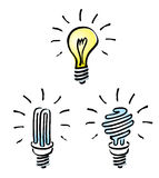 Lampadine, lampadina del tungsteno, lampadina economizzatrice d'energia, Fotografia Stock