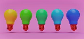 Lampadine multicolori rappresentazione 3d illustrazione vettoriale