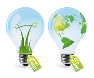 Lampadine realistiche di eco - insieme 1 Fotografie Stock Libere da Diritti