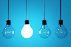 Lampadine realistiche su fondo blu nella rappresentazione 3D Fotografia Stock Libera da Diritti