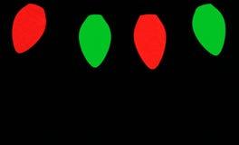 Lampadine rosse e verdi di natale Fotografie Stock Libere da Diritti