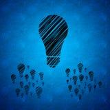 Lampadine su fondo blu Immagine Stock Libera da Diritti