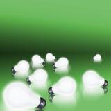 Lampadine su verde Fotografia Stock