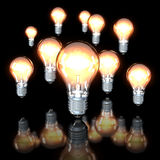 Lampadine sul nero Fotografia Stock Libera da Diritti