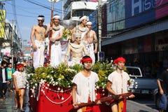 LAMPANG, ТАИЛАНД - 13-ОЕ АПРЕЛЯ 2011: Шествие Salung Luang и фестиваль Songkran в провинции Lampang северной Таиланда Стоковое фото RF