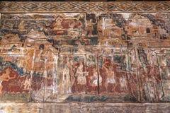LAMPANG TAILANDIA 20 ottobre: Di legno murale tailandese a Wat Phra That Lampang Luang Provincia di Lampang il 20 ottobre 2015 in immagini stock
