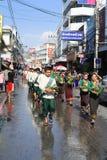 LAMPANG, THAILAND - 13 APRIL 2011: De Optocht van Salungluang en Songkran-Festival in Lampang-provincie noordelijk van Thailand Stock Foto's
