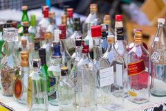 Liquor Spirits drink glass bottle collection for sale at street market in Thailand. LAMPANG, THAILAND - 22 APRIL 2017: Liquor Spirits drink glass bottle Royalty Free Stock Photos