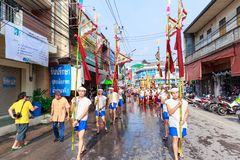 Songkran Festival Parade Traditional culture of Salung Luang Procession Lanna style in Lampang province northern of Thailand. LAMPANG, THAILAND - 12 APRIL 2017 Stock Images