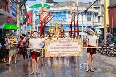 Songkran Festival Parade Traditional culture of Salung Luang Procession Lanna style in Lampang province northern of Thailand. LAMPANG, THAILAND - 12 APRIL 2017 royalty free stock photography