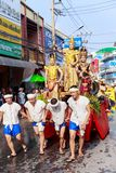 Songkran Festival Parade Traditional culture of Salung Luang Procession Lanna style in Lampang province northern of Thailand. LAMPANG, THAILAND - 12 APRIL 2017 stock photo