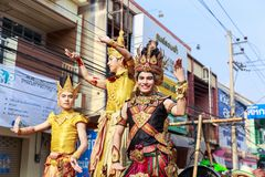 Songkran Festival Parade Traditional culture of Salung Luang Procession Lanna style in Lampang province northern of Thailand. LAMPANG, THAILAND - 12 APRIL 2017 royalty free stock image