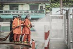 Lampang Thailand Aug 30, 2018, Trainings- und Praxisbrandverh?tungspl?ne, Fl?ssiggasspeicher stockfoto