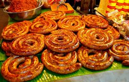 Lampang Thailand: Coils of Grilled Sausages Royalty Free Stock Photos