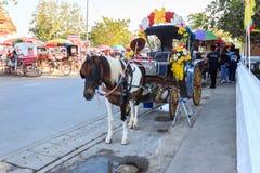 Horse Carriage at Wat Phra That Lampang Luang. Lampang, Thailand - December 23, 2017: Horse Carriage at Wat Phra That Lampang Luang, Lanna-style Buddhist temple royalty free stock photography