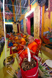 LAMPANG, THAILAND - DECEMBER : Lampang monks chant for ceremony. In Lampangkang Temple Pagoda celebration ceremony for king on Dec 10, 2013 at Lampangkang Stock Images