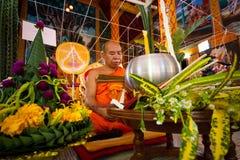 LAMPANG, THAILAND - DECEMBER : Lampang monks chant for ceremony. In Lampangkang Temple Pagoda celebration ceremony for king on Dec 10, 2013 at Lampangkang Royalty Free Stock Photography