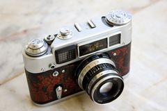 Fed 4. LAMPANG, THAILAND - FEBRUARY 13: A Fed 4 vintage Russian film camera on February 13, 2012 in Lampang, Thailand. Film photography has become increasingly royalty free stock photo