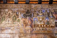 LAMPANG THAILAND-October 20:Thai mural wooden at  Wat Phra That Lampang Luang.Lampang province on October 20 , 2015 in LAMPANG THA. ILAND Royalty Free Stock Photos