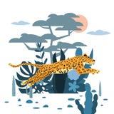 Lamparta doskakiwanie, rośliny i drzewo, śliczne, tło, graficzny trendu styl, zwierzęcy drapieżnika ssak, dżungla wektor royalty ilustracja