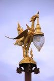 Lampdecoratie op Saphan Mon of Mon-Brug, langste handmad Stock Fotografie