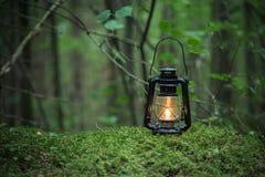 Lampe à pétrole au sol en nature images libres de droits