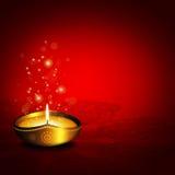 Lampe à pétrole avec le plac pour des salutations de diwali au-dessus de fond foncé illustration stock