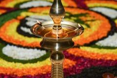Lampe à pétrole pour l'Inde du Kerala de festival d'Onam Image libre de droits