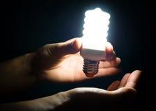 Lampe économiseuse d'énergie dans les mains Images libres de droits