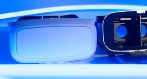 Lampe au néon bleue en verre de casque de réalité virtuelle Images stock